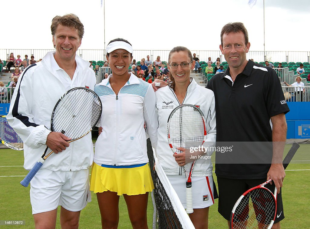 Andrew Castle Anne Keothavong Leyla Ogen and Jeremy Bates pose during an exhibition match ahead of the AEGON Classic at Edgbaston Priory Club on June...