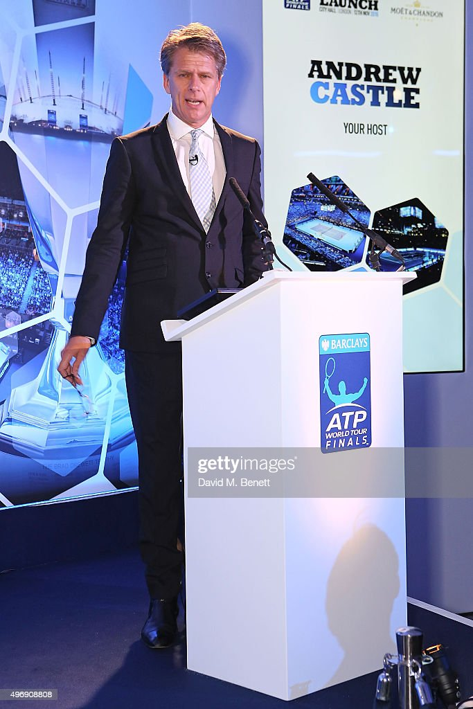 Andrew Castle celebrate with Moet Chandon and raise a toast to the official launch of the 2015 Barclays ATP World Tour Finals at City Hall on...