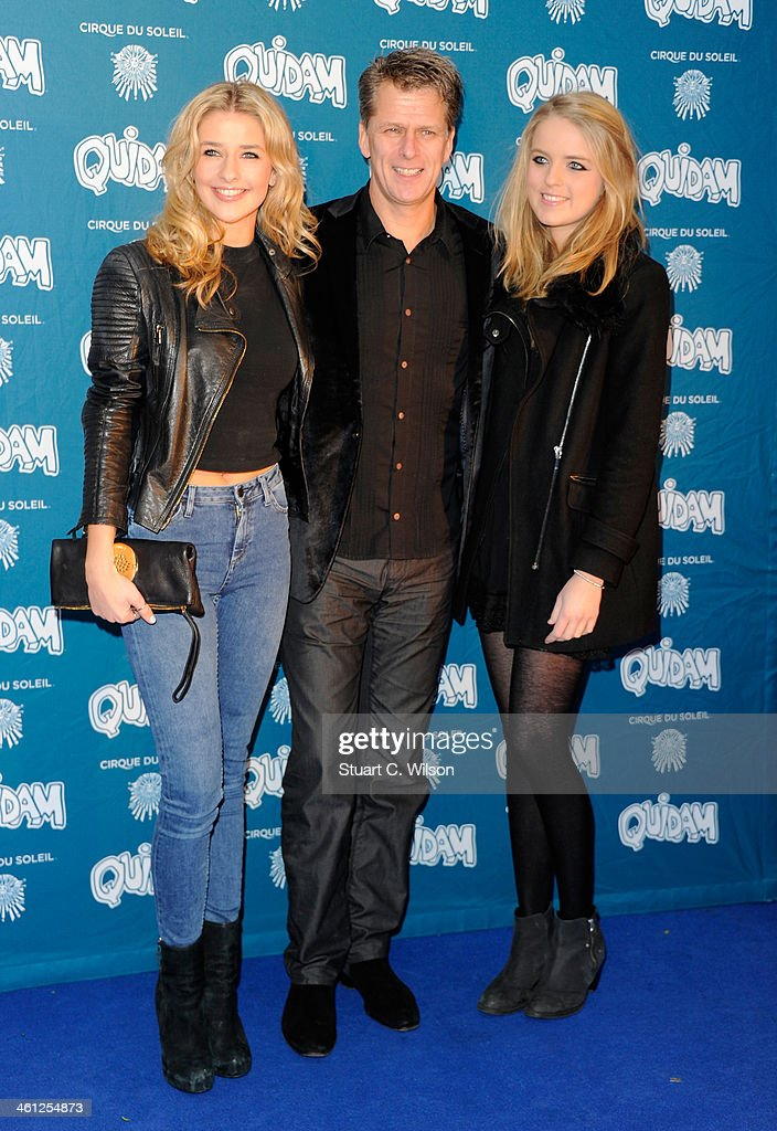 Andrew Castle with his daughter Georgina and Claudia attend the 'Cirque Du Soleil Quidam' opening night at the Royal Albert Hall on January 7 2014 in...