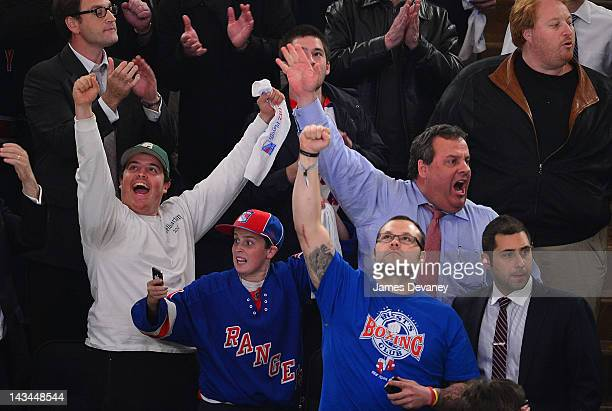 Andrew Christie Patrick Christie Joba Chamberlain and New Jersey Governor Chris Christie attend the Ottawa Senators vs the New York Rangers Playoff...