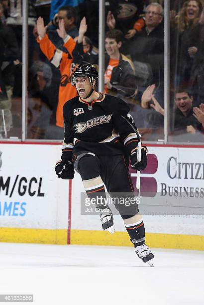 Andrew Cogliano of the Anaheim Ducks celebrates a shorthanded goal against the Boston Bruins in the second period at Honda Center on January 7 2014...