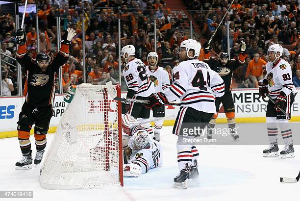 Andrew Cogliano of the Anaheim Ducks celebrates his first period goal against the Chicago Blackhawks in Game Two of the Western Conference Finals...
