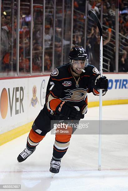 Andrew Cogliano of the Anaheim Ducks celebrates his shorthanded goal in the third period against the Dallas Stars in Game Two of the First Round of...