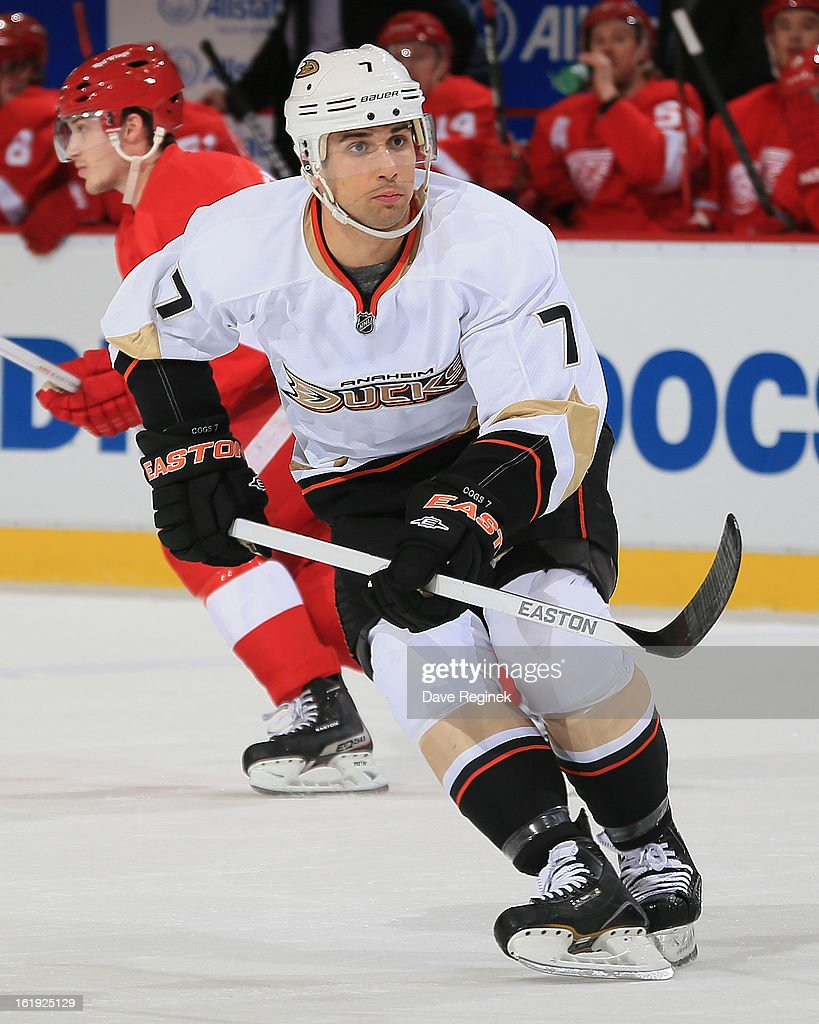 Andrew Cogliano #7 of the Anaheim Ducks follows the play during a NHL game against the Detroit Red Wings on February 15, 2013 at Joe Louis Arena in Detroit, Michigan. Anaheim defeated Detroit 5-2