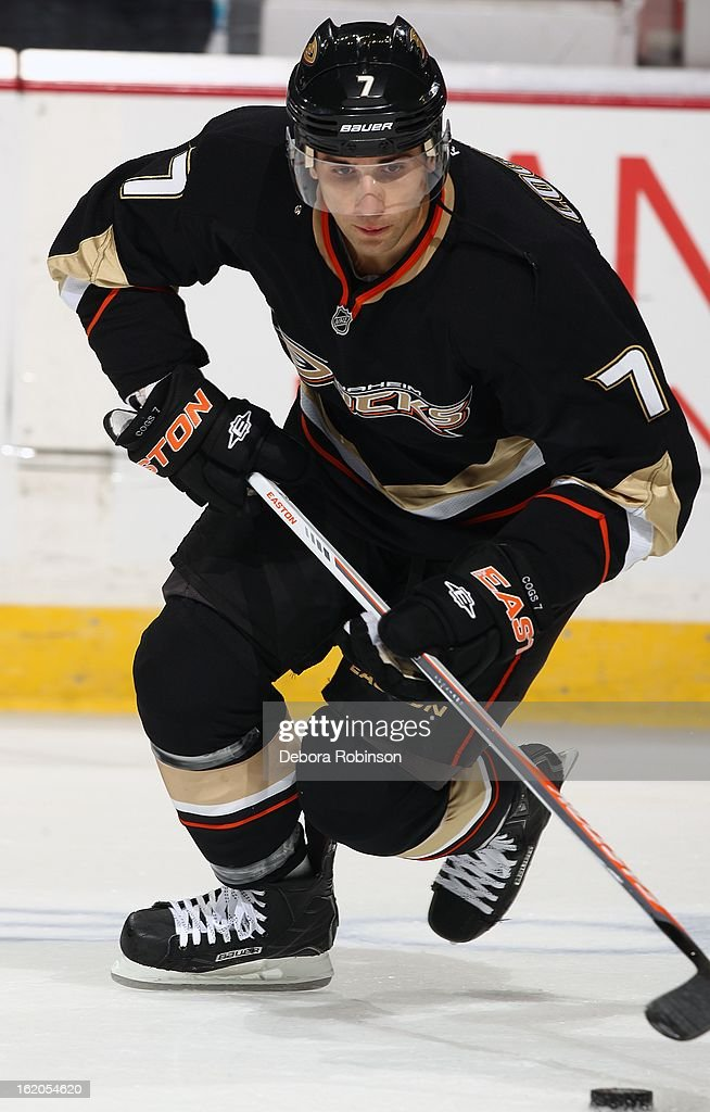 Andrew Cogliano #7 of the Anaheim Ducks goes for the puck during pre-game against of the Columbus Blue Jackets on February 18, 2013 at Honda Center in Anaheim, California.
