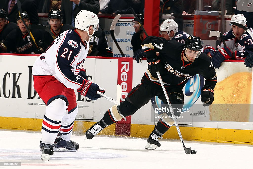 <a gi-track='captionPersonalityLinkClicked' href=/galleries/search?phrase=Andrew+Cogliano&family=editorial&specificpeople=869296 ng-click='$event.stopPropagation()'>Andrew Cogliano</a> #7 of the Anaheim Ducks handles the puck against <a gi-track='captionPersonalityLinkClicked' href=/galleries/search?phrase=James+Wisniewski&family=editorial&specificpeople=688111 ng-click='$event.stopPropagation()'>James Wisniewski</a> #21 of the Columbus Blue Jackets on April 17, 2013 at Honda Center in Anaheim, California.