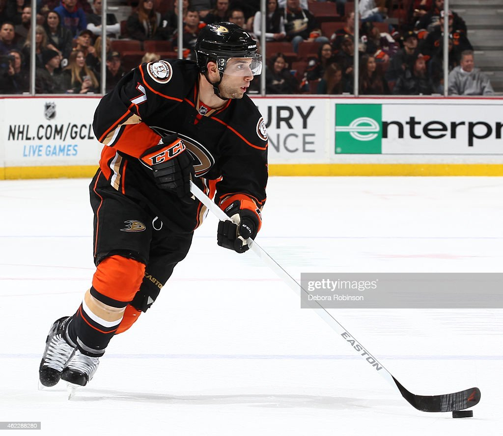 Andrew Cogliano of the Anaheim Ducks handles the puck against the New Jersey Devils on January 16 2015 at Honda Center in Anaheim California