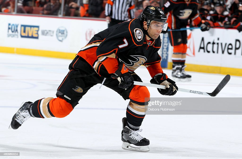 Andrew Cogliano of the Anaheim Ducks handles the puck against the Vancouver Canucks on December 28 2014 at Honda Center in Anaheim California