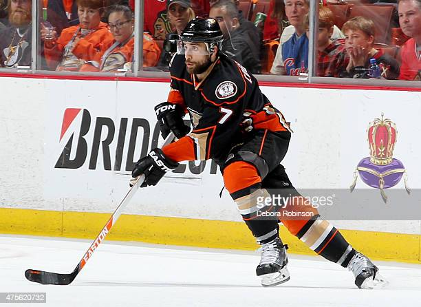 Andrew Cogliano of the Anaheim Ducks handles the puck against the Chicago Blackhawks in Game Five of the Western Conference Finals during the 2015...
