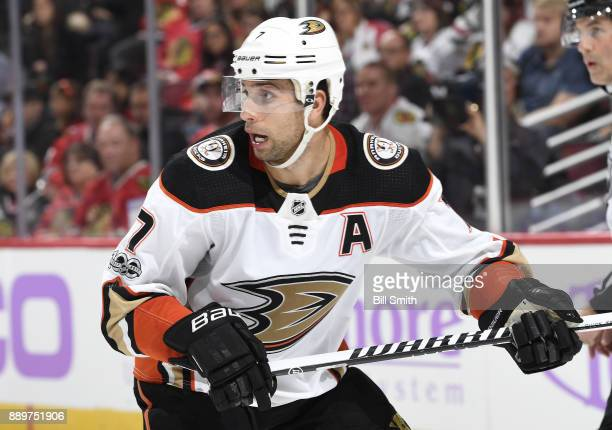 Andrew Cogliano of the Anaheim Ducks looks down the ice in the second period against the Chicago Blackhawks at the United Center on November 27 2017...