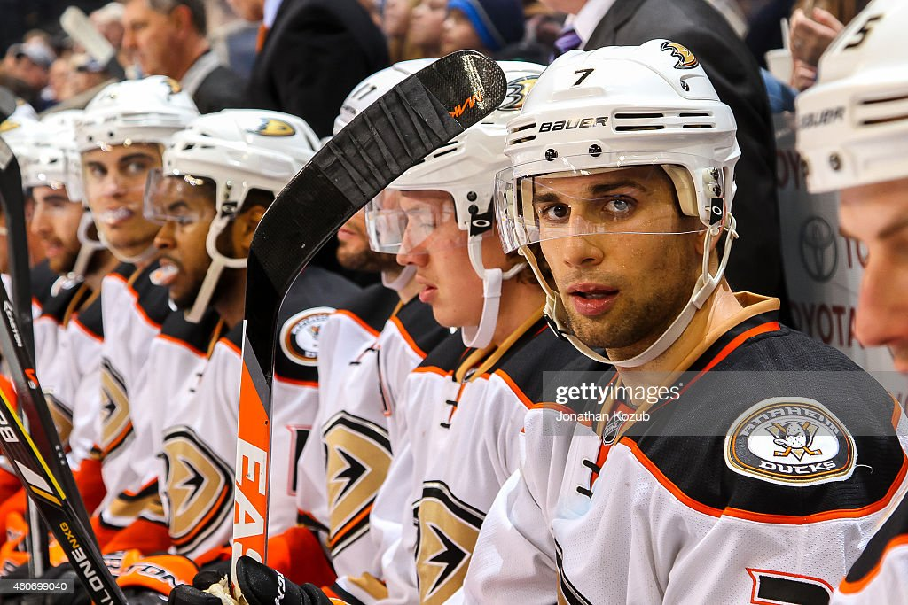 Andrew Cogliano of the Anaheim Ducks looks on from the bench during third period action against the Winnipeg Jets on December 13 2014 at the MTS...