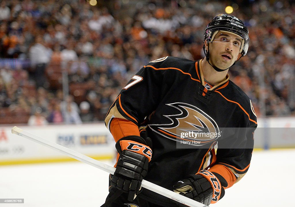 Andrew Cogliano of the Anaheim Ducks reacts after a stop in play against the Arizona Coyotes at Honda Center on November 7 2014 in Anaheim California
