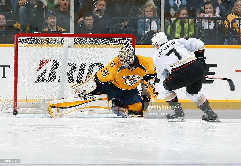 Andrew Cogliano #7 of the Anaheim Ducks scores a shootout goal against the Nashville Predators at Bridgestone Arena on February 16, 2013 in Nashville, Tennessee.