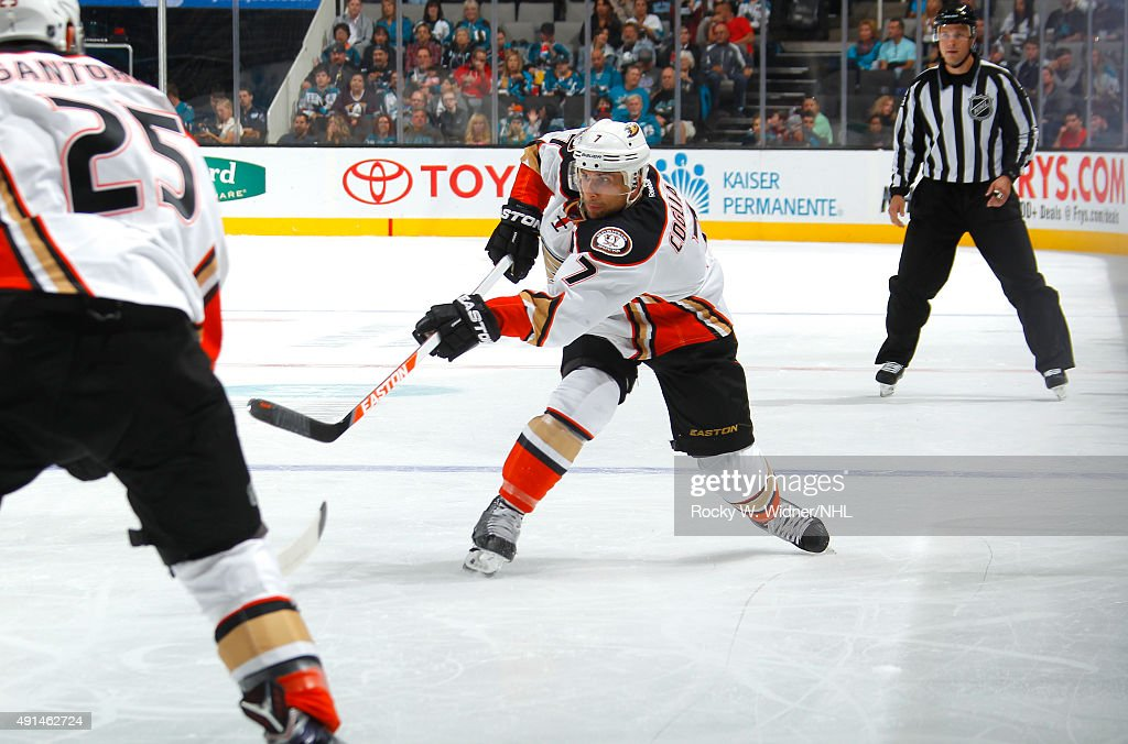 Andrew Cogliano of the Anaheim Ducks shoots the puck against the San Jose Sharks at SAP Center on September 26 2015 in San Jose California