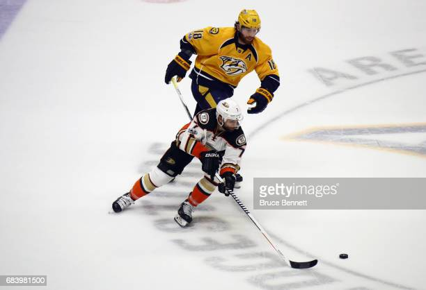 Andrew Cogliano of the Anaheim Ducks skates against James Neal of the Nashville Predators during the second period in Game Three of the Western...