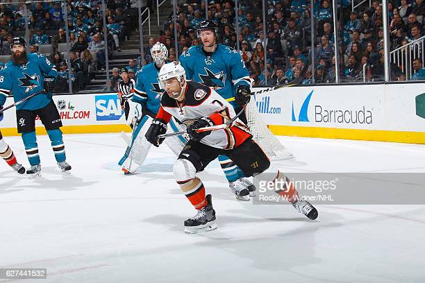 Andrew Cogliano of the Anaheim Ducks skates against Paul Martin of the San Jose Sharks at SAP Center on November 26 2016 in San Jose California