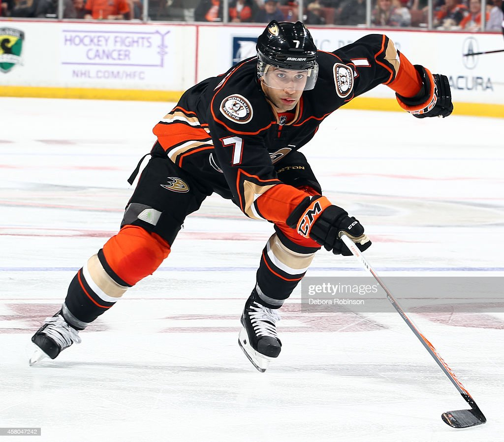 Andrew Cogliano of the Anaheim Ducks skates against the Buffalo Sabres on October 22 2014 at Honda Center in Anaheim California