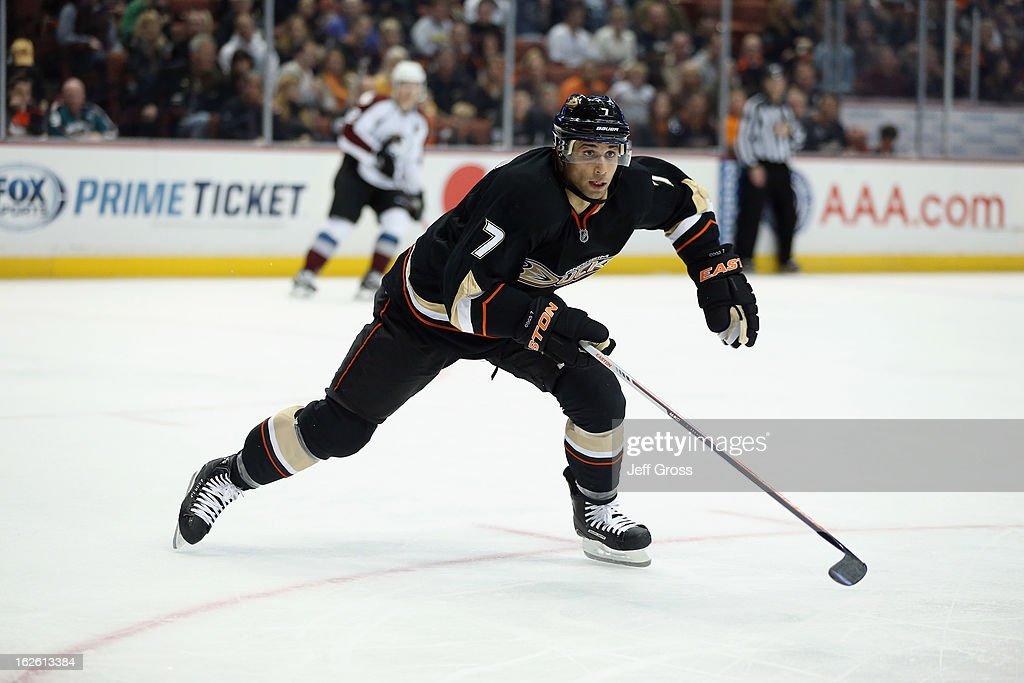 Andrew Cogliano #7 of the Anaheim Ducks skates against the Colorado Avalanche at Honda Center on February 24, 2013 in Anaheim, California.
