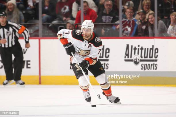 Andrew Cogliano of the Anaheim Ducks skates against the Colorado Avalanche at the Pepsi Center on October 13 2017 in Denver Colorado 'n