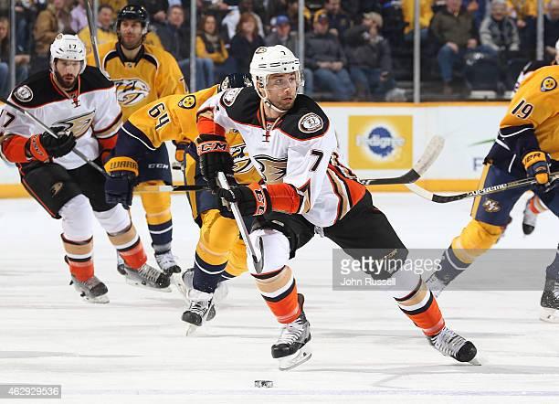 Andrew Cogliano of the Anaheim Ducks skates against the Nashville Predators during an NHL game at Bridgestone Arena on February 5 2015 in Nashville...