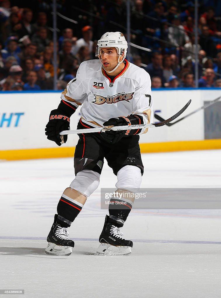 Andrew Cogliano of the Anaheim Ducks skates against the New York Islanders at Nassau Veterans Memorial Coliseum on December 21 2013 in Uniondale New...