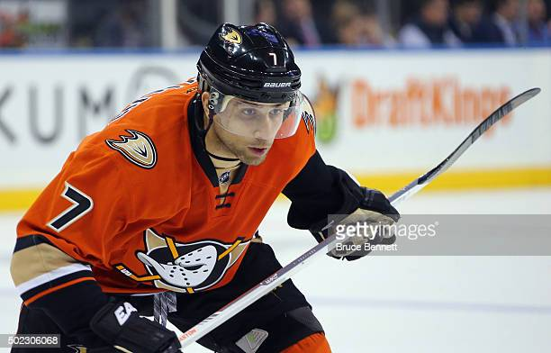 Andrew Cogliano of the Anaheim Ducks skates against the New York Rangers at Madison Square Garden on December 22 2015 in New York City The Rangers...