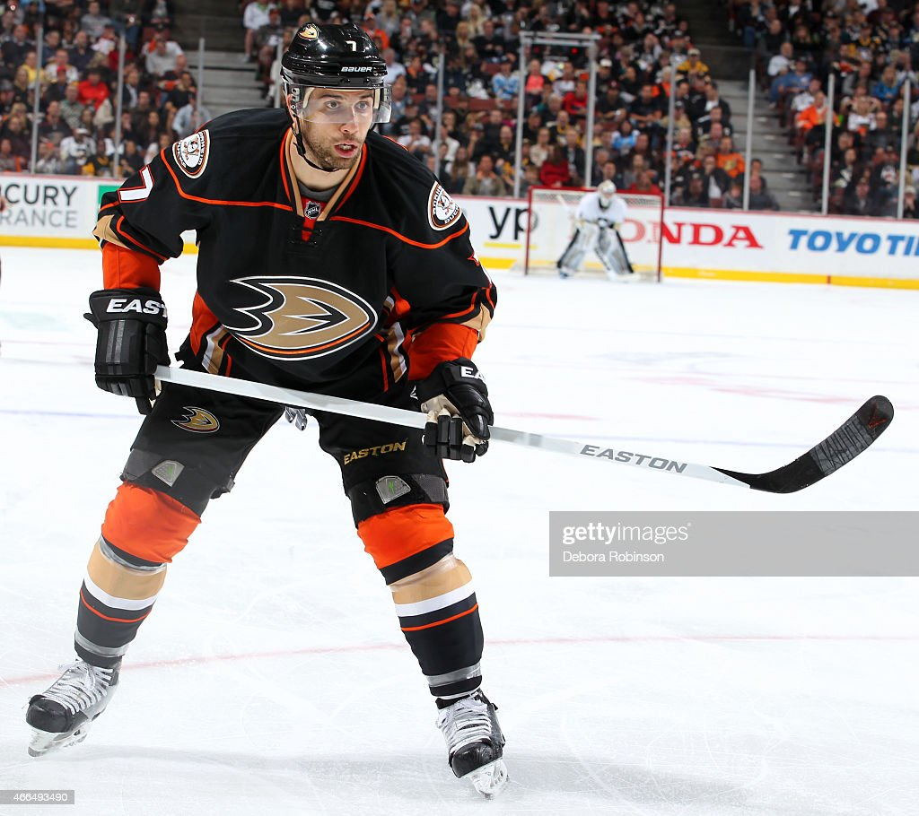 Andrew Cogliano of the Anaheim Ducks skates against the Pittsburgh Penguins on March 6 2015 at Honda Center in Anaheim California