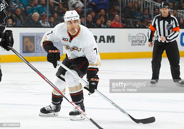 Andrew Cogliano of the Anaheim Ducks skates against the San Jose Sharks at SAP Center on December 29 2013 in San Jose California
