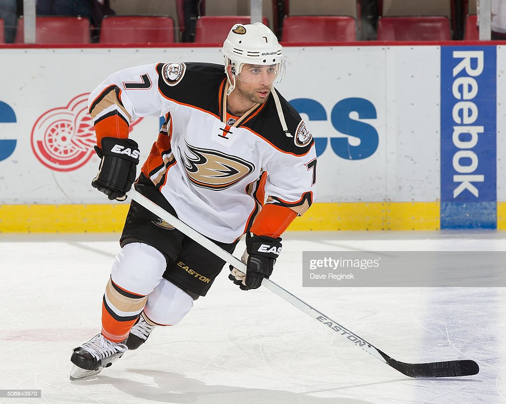 Andrew Cogliano of the Anaheim Ducks skates around in warmups prior to an NHL game against the Detroit Red Wings at Joe Louis Arena on January 23...