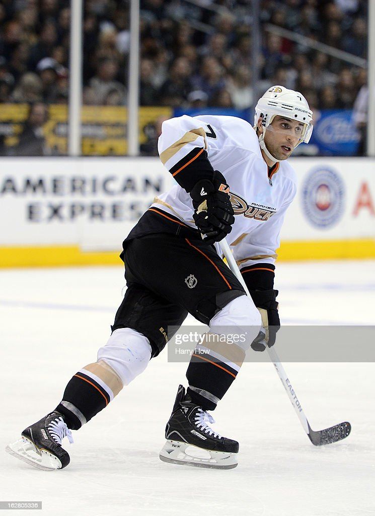 Andrew Cogliano #7 of the Anaheim Ducks skates back on defense during the game against the Los Angeles Kings at Staples Center on February 25, 2013 in Los Angeles, California.