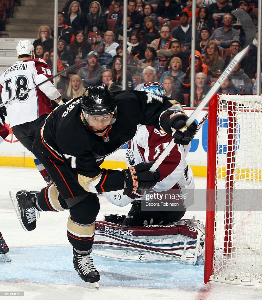 Andrew Cogliano #7 of the Anaheim Ducks skates during the game against the Colorado Avalanche on February 24, 2013 at Honda Center in Anaheim, California.