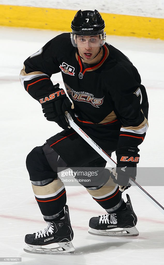 Andrew Cogliano of the Anaheim Ducks skates during the game against the Carolina Hurricanes on March 2 2014 at Honda Center in Anaheim California