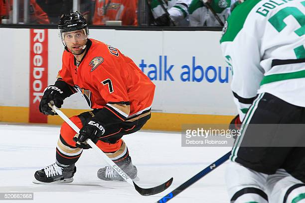 Andrew Cogliano of the Anaheim Ducks skates during the game against the Dallas Stars on April 3 2016 at Honda Center in Anaheim California