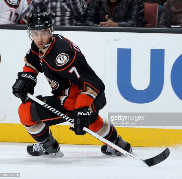 Andrew Cogliano of the Anaheim Ducks skates during the game against the Toronto Maple Leafs on March 3 2017 at Honda Center in Anaheim California