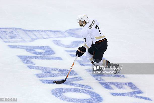 Andrew Cogliano of the Anaheim Ducks skates the puck out of the Ducks zone in the second period during Game Six of the Second Round of the 2014 NHL...