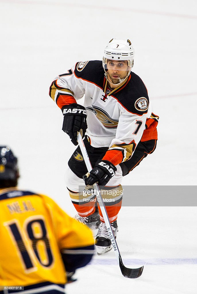 Andrew Cogliano of the Anaheim Ducks skates with the puck against the Nashville Predators during a NHL game at Bridgestone Arena on April 19 2016 in...