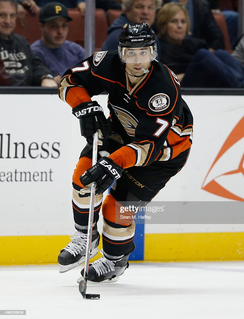 Andrew Cogliano of the Anaheim Ducks skates with the puck during a game against the Calgary Flames at Honda Center on November 24 2015 in Anaheim...