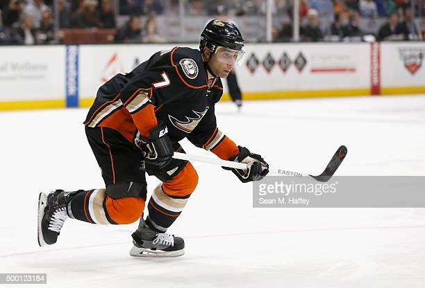 Andrew Cogliano of the Anaheim Ducks skates with the puck during a game against the Vancouver Canucks at Honda Center on November 30 2015 in Anaheim...