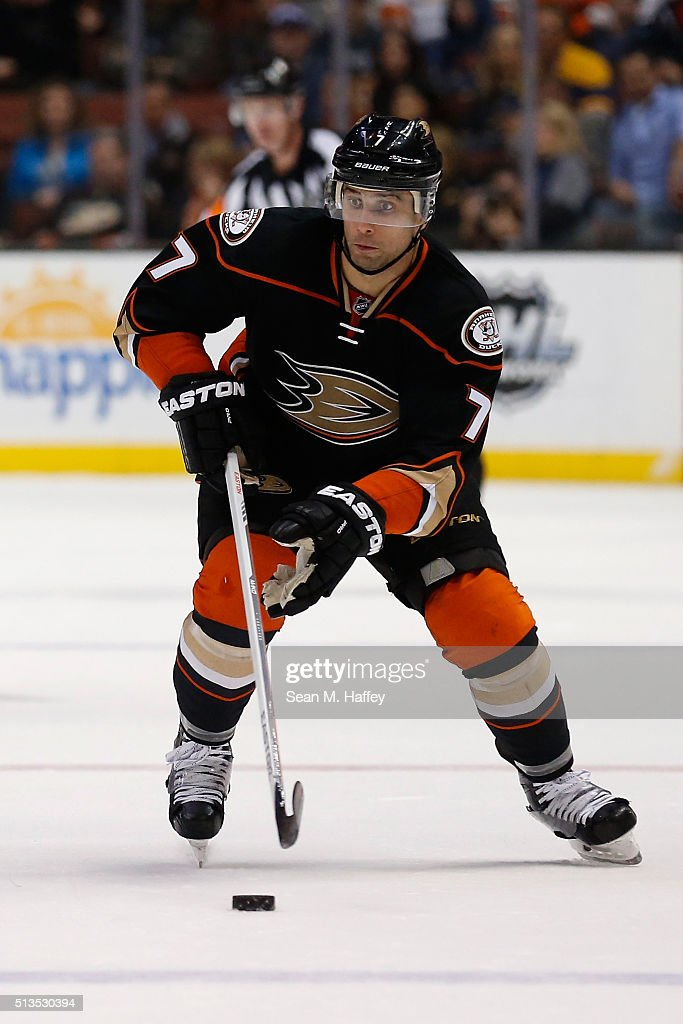 Andrew Cogliano of the Anaheim Ducks skates with the puck during the third period of a game against the Buffalo Sabres at Honda Center on February 24...