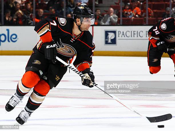 Andrew Cogliano of the Anaheim Ducks skates with the puck during the game against the Edmonton Oilers on November 15 2016 at Honda Center in Anaheim...