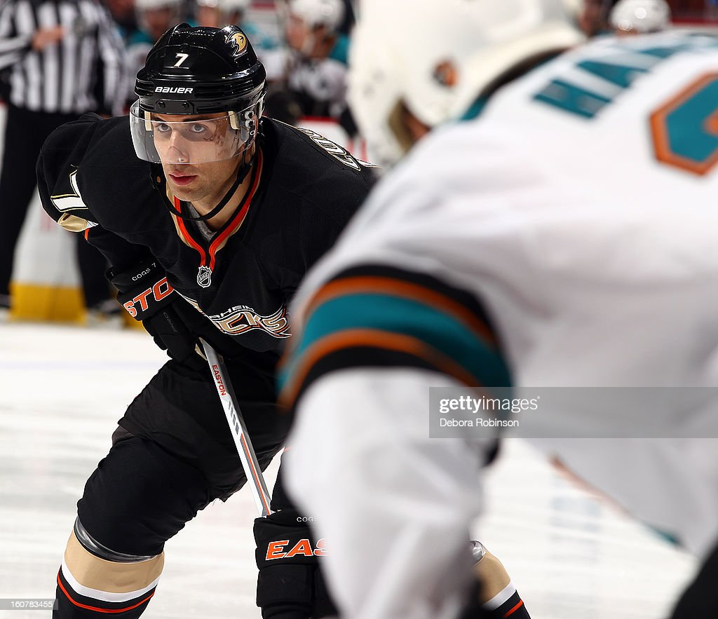 Andrew Cogliano #7 of the Anaheim Ducks takes his position on the ice during the game against the San Jose Sharks on February 4, 2013 at Honda Center in Anaheim, California.