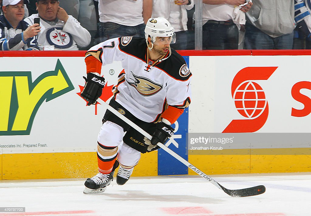 Andrew Cogliano of the Anaheim Ducks takes part in the pregame warm up prior to action against the Winnipeg Jets in Game Four of the Western...