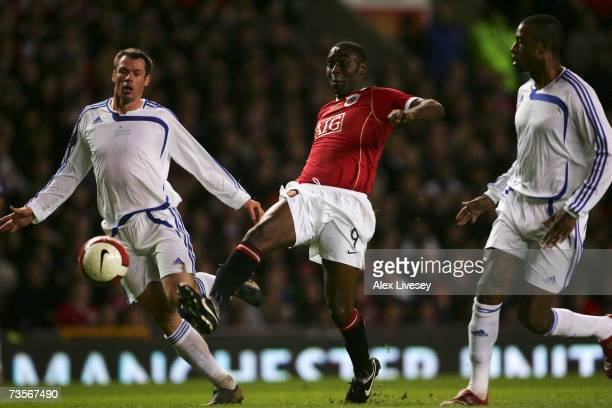 Andrew Cole makes a guest appearance for Manchester United during the UEFA Celebration match between Manchester United and Europe XI at Old Trafford...