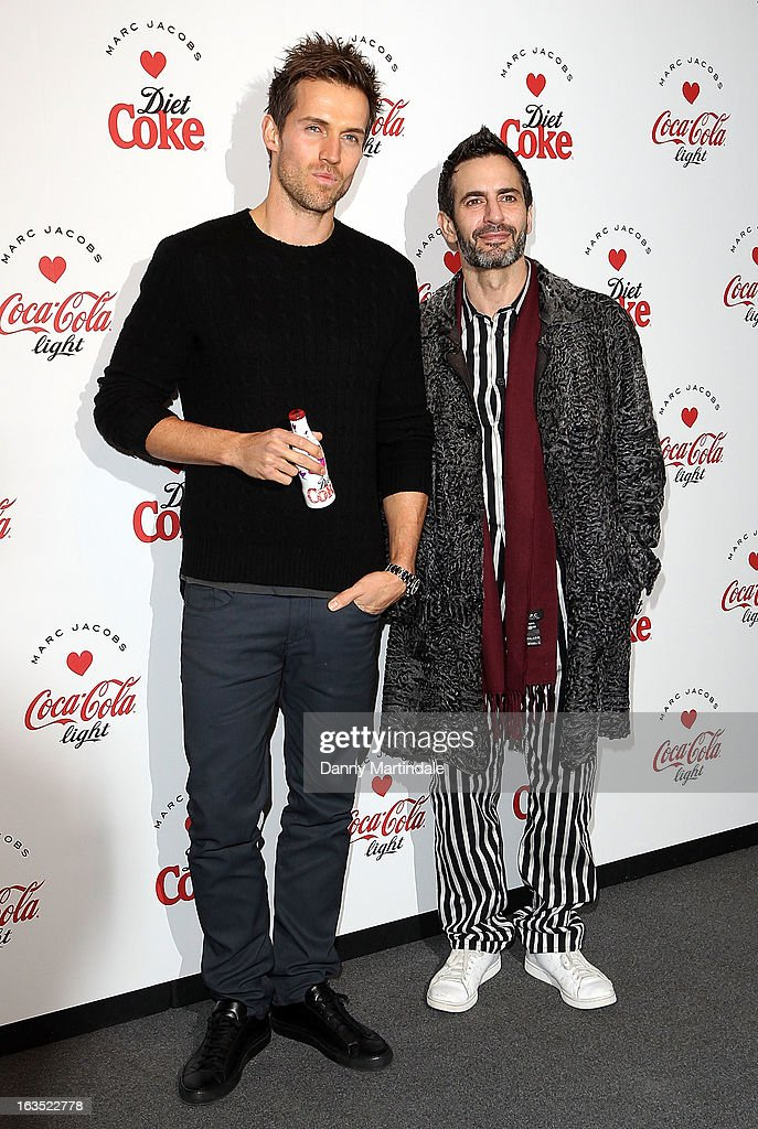 Andrew Cooper and Marc Jacobs attends the launch party announcing Marc Jacobs as the Creative Director for Diet Coke in 2013 on March 11, 2013 in London, England.