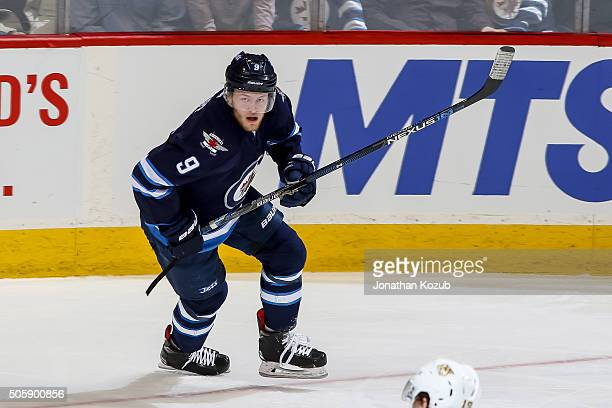 Andrew Copp of the Winnipeg Jets follows the play up the ice during third period action against the Nashville Predators at the MTS Centre on January...