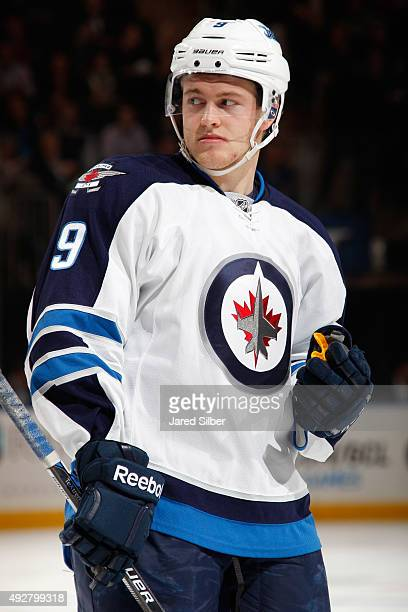 Andrew Copp of the Winnipeg Jets looks on before a faceoff against the New York Rangers at Madison Square Garden on October 13 2015 in New York City...