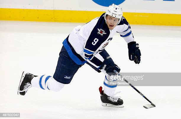 Andrew Copp of the Winnipeg Jets plays in the game against the New Jersey Devils at the Prudential Center on October 9 2015 in Newark New Jersey