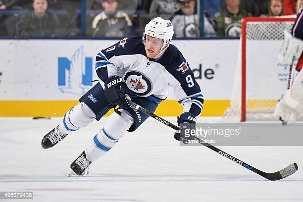 Andrew Copp of the Winnipeg Jets skates against the Columbus Blue Jackets on October 31 2015 at Nationwide Arena in Columbus Ohio