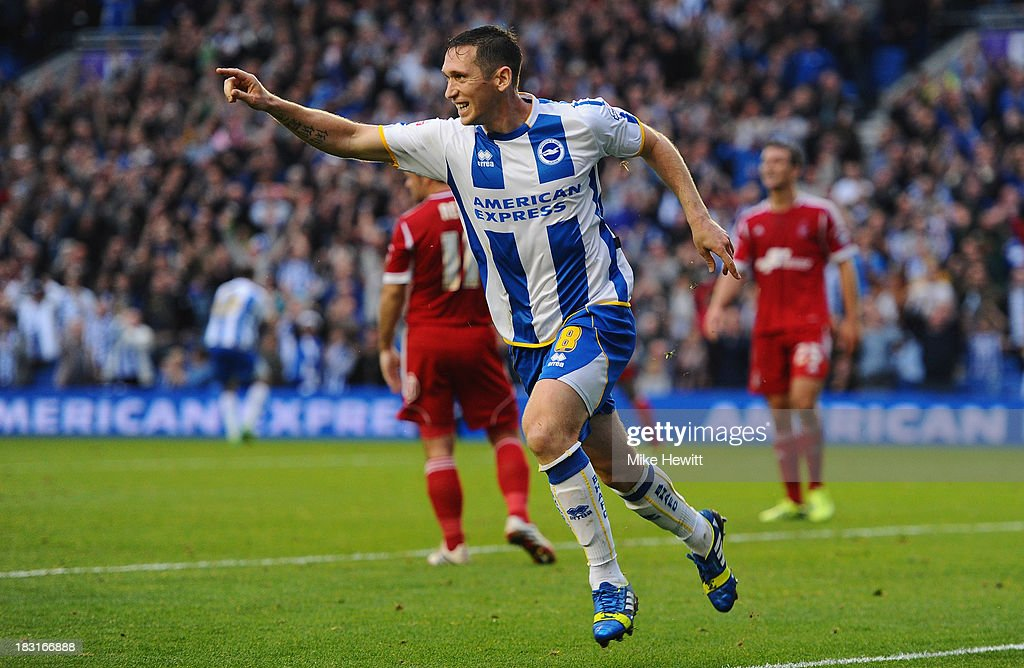 Andrew Crofts of Brighton celebrates after scoring during the Sky Bet Championship match between Brighton & Hove Albion and Nottingham Forest at Amex Stadium on October 5, 2013 in Brighton, England.