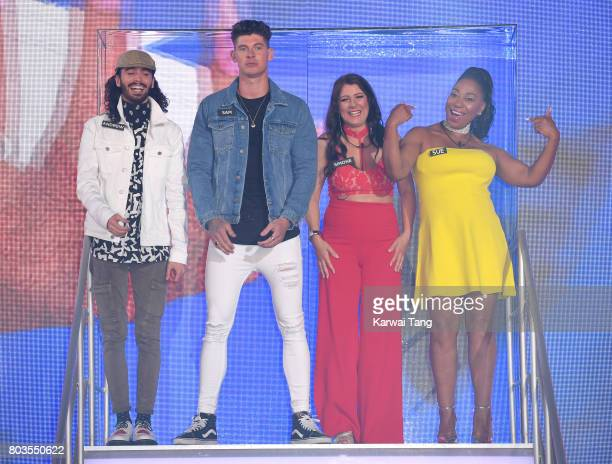Andrew Cruickshanks Sam Chaloner Simone Reed and Sue Evans enter the Big Brother house at Elstree Studios on June 29 2017 in Borehamwood England